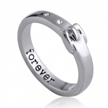 Personality Elegant Belt Shape Unisex Gold And Silver Plated Lettering Ring Hot Selling