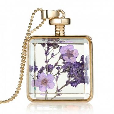 2015新款上市 镀金正方形水晶项链饰品批发 欧美复古干花项链