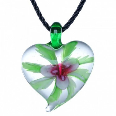 Hot Woman Man Jewelry Heart Green Leaf Colorful Flower Coloured Glaze Pendant Necklace