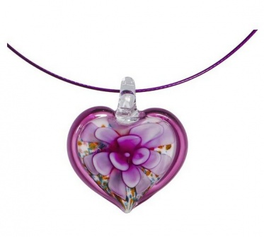 New Fashion Woman Man Eggplant Red Heart Flower Coloured Glaze Pendant Necklace
