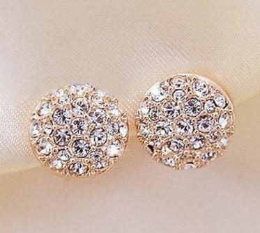 New Exquisite Elegant Jewelry Temperament Gold Rhinestone Round Ear Stud Earrings