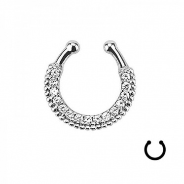 Crystal Fake Septum Ring Bar Body Clip On Non Piercing Unisex Hoop Jewelry Gifts