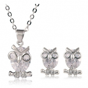 New Fashion Woman Lady Jewelry Zircon Owl Silver Chain Pendant Necklace Earrings Set Gift