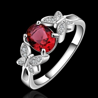 New Personality Fashion Woman Man Jewery Silver Plated Zircon Butterfly Heart Ring