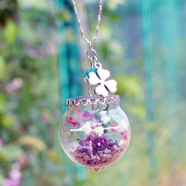 Fashion Handmade DIY Jewelry Dried Flower Lavender Necklace Long Chain Pendant Gift