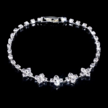 韩版时尚婚礼饰品水钻手链 奢华水晶水钻花手链 简约大方