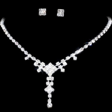 New Unique Design Wedding Bridal Woman Jewelry Silver Rhinestone Necklace Earrings Sets