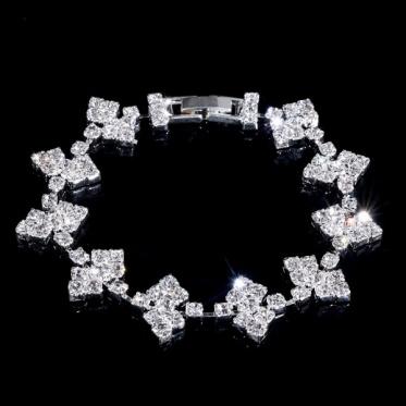 韩版时尚婚礼礼物 新娘 伴娘饰品 银色婚礼饰品水钻手链