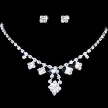 Charm Women Silver Jewelry Wedding Engagement Crystal Rhinestone Necklace Earrings Set Gift