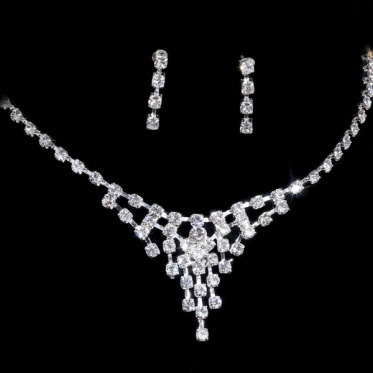 New Fashion Silver Wedding Engagement Rhinestone Crystal Necklace Earrings Set Jewelry