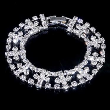 别致婚礼饰品手链 水晶莱茵石手镯婚礼新娘首饰
