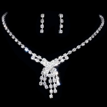 Fashion Silver Wedding Engagement Bridal Woman Jewelry Rhinestone Necklace Earrings Set