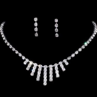 New Silver Wedding Engagement Woman Bridal Jewelry Rhinestone Necklace Earring Set