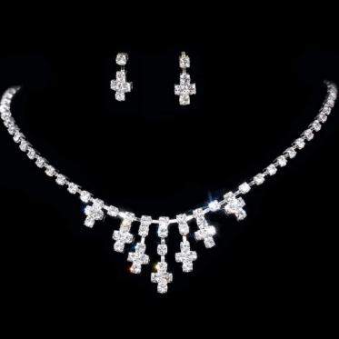 Fashion Women Silver Wedding Jewelry Rhinestone Crystal Necklace Earrings Set Gift