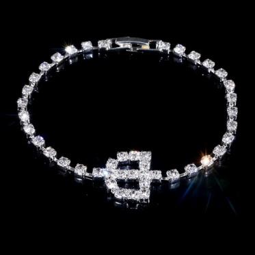美丽银白色手链镶钻盾牌 简约时尚韩版风 婚礼晚宴饰品