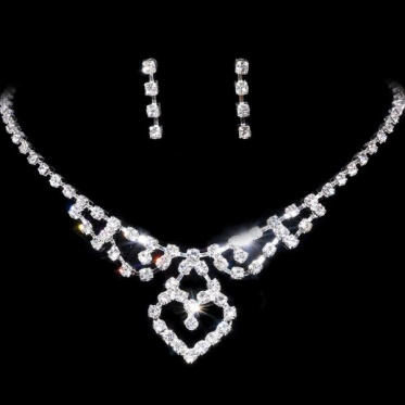 Fashion Silver Wedding Woman Bridal Engagement Jewelry Rhinestone Necklace Earring Set