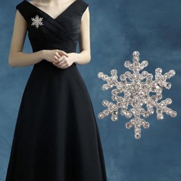 Fashion Elegant Woman Snowflake Silver Brooch Crystal Birthstone Crystal Pearl Broach Pin