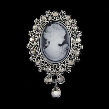 New Natural Cameo Victorain Style Crystal Wedding Women Party Pendant Brooches Pin