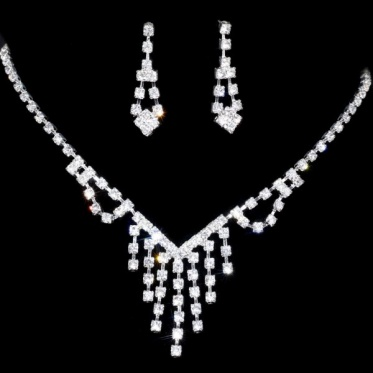 New Simple Charming Jewelry Wedding Engagement Rhinestone Crystal Necklace Earrings Sets