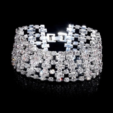 Hot Unique Disign Rhinestone Wedding Engagement Bangle Bracelet Cuff Jewelry Gift