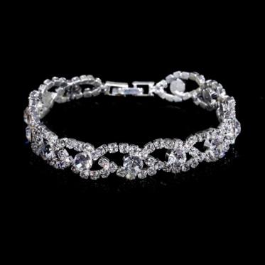 热销时尚银色婚礼水钻手链 魅力女性 韩版风