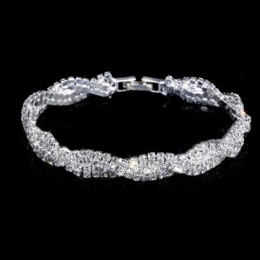 韩版时尚 银色婚订婚手镯 优雅女性水钻手链 婚礼晚宴