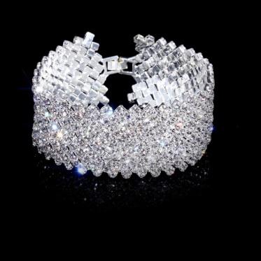 Hot Unique Disign Rhinestone Wedding Engagement Bangle Bracelet Cuff Jewelry Gift