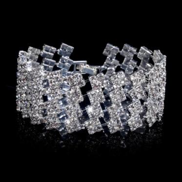 Novelty Chic Crystal Wedding Jewelry Bride Rhinestone Bracelet Bangle Cuff Jewelry