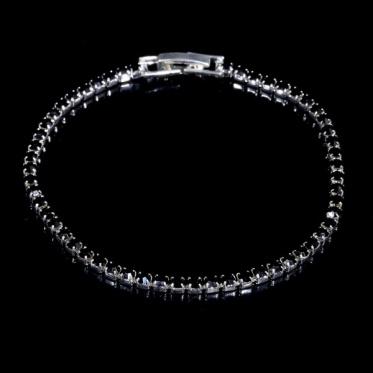 个性时尚奢华黑色手钻水钻 简约百搭潮流款手链手环女饰品