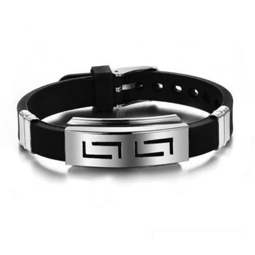 回纹型皮带扣几何型不锈钢硅胶手链 可调节韩版时尚手镯