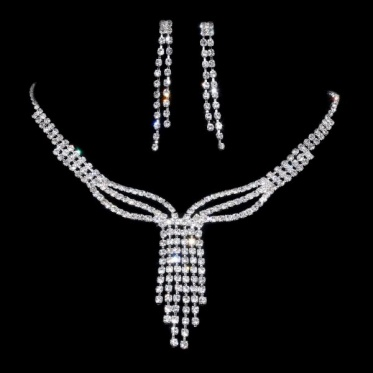 Chic Silver Woman Bride Wedding Party Crystal Rhinestone Necklace Earrings Set Jewelry