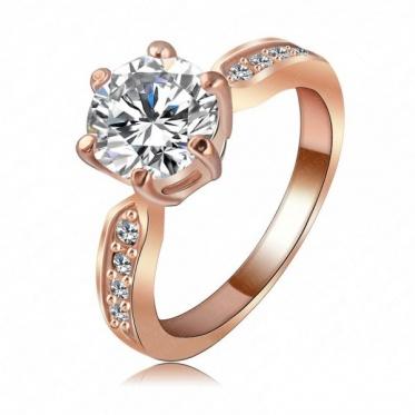 Stylish 18K Rose Gold Austrian Crystal AAA Zircon Ring Woman Lady Jewelry Gift