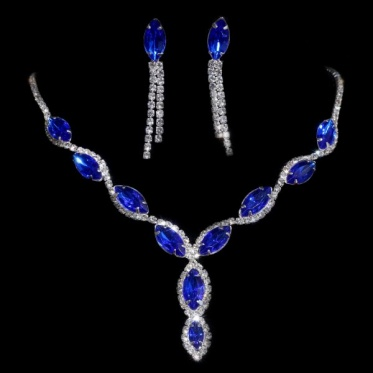 Shiny Silver Woman Wedding Engagement Blue Rhinestone Necklace Earrings Set Jewelry