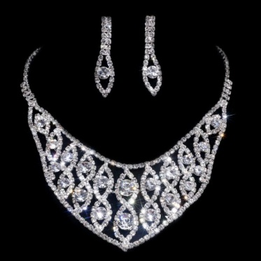 Silver Wedding Party Rhinestone Crystal Necklace Earrings Set Jewelry New Fashion