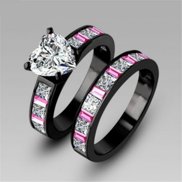 1 Pair Couple Lover Love Heart Zircon Black Gold Plated Woman Man Ring Jewelry