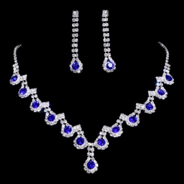 Hot Charming Silver Wedding Engagement Crystal Rhinestone Necklace Earrings Set Jewelry