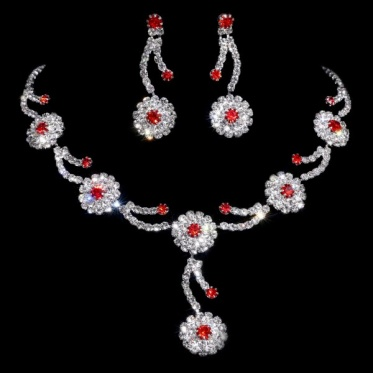 Shine Silver Wedding Engagement Crystal Rhinestone Necklace Earrings Set Woman Jewelry