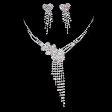 Fashion Shiny Silver Woman Wedding Engagement Blue Rhinestone Necklace Earrings Set Jewelry