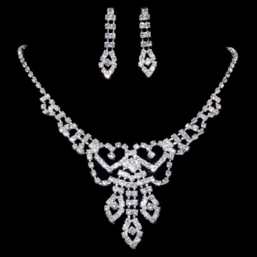 Fashion Crystal Rhinestone Silver Wedding Earrings Necklace Set Jewelry Gifts New