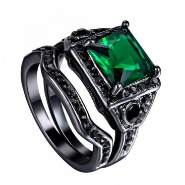 2pcs Retro Jewelry Green Color Zircon Black Gold Plated Ring Woman Lady Gift