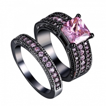 1 Pair Couple Lover New Fashion Pink Color Triplex Row Zircon Black Gold Ring