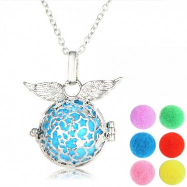 Hot Aromatherapy Locket Pendant 6pcs Colorful Round Ball Pad Oil Diffuser Necklace