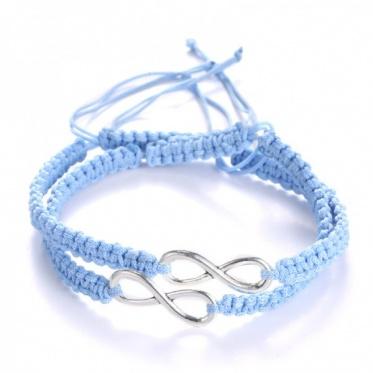 2pcs Adjustable Hand-woven Bracelet 8 Word Lucky Hand Rope Bracelet Woman Man