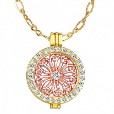 Fashion Jewelry Open Locket Pendant Necklace My Coin Mi Full Rhinestone Moneda Gift