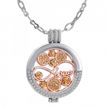Hot Charming Imitation Gold/Rose Gold/White K Plated Open Locket Pendant Necklace