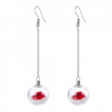 Woman New Jewelry Glass Cover Ball Dried Flower/Pearl/ Dandelion Earring Eardrop