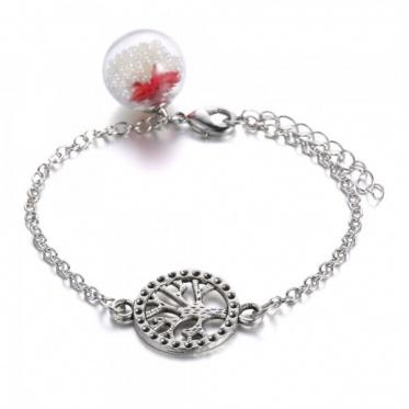 New Woman Jewelry Bracelet Glass Cover Dried Flower Imitation Pearls Bracelet Gift