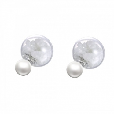 Hot Fashion Woman Lady Jewelry Transparent Stone Glass Cover Earring Ear Stud