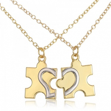 2pcs Lover Couple Fashion Jewelry Dog Tag White Gold/Imitation Gold Plated Pendant Necklace