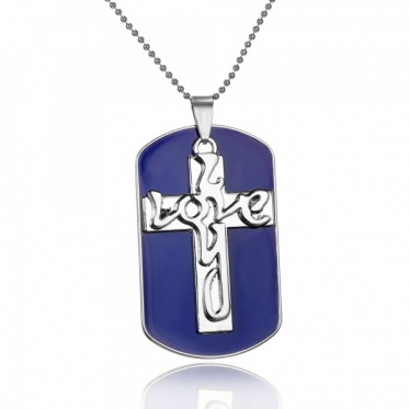 New Fashion Jewelry White Gold Plated Cross Lettering Dog Tag Pendant Necklace